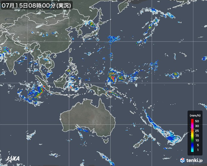 tenki.jp×JAXA 世界の雨雲の動き2021年01月25日05:30(日本時)発表)