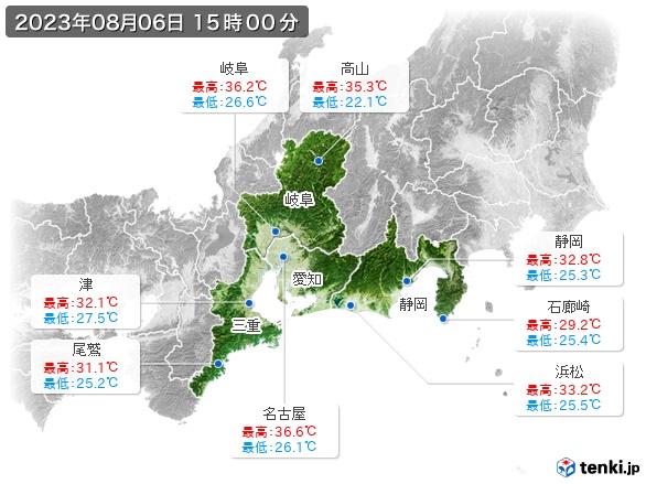 東海地方の最高・最低気温(全国)