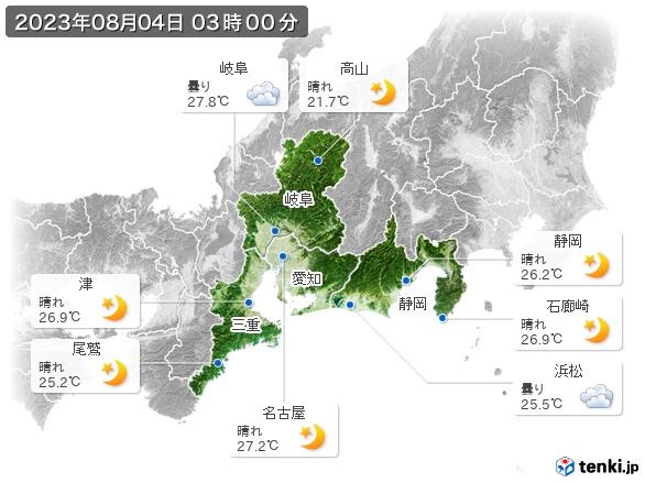 東海地方の現在の天気(全国)