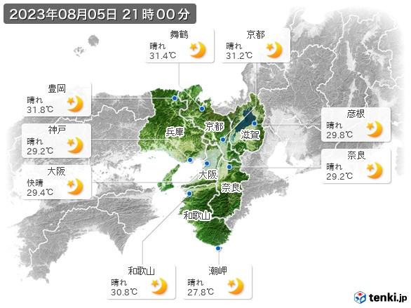 近畿地方の現在の天気(全国)