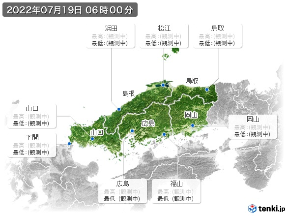 中国地方の最高・最低気温(全国)