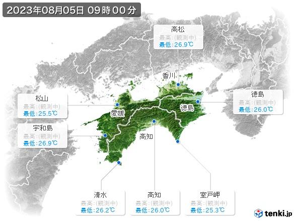 四国地方の最高・最低気温(全国)