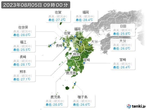 九州地方の最高・最低気温(全国)