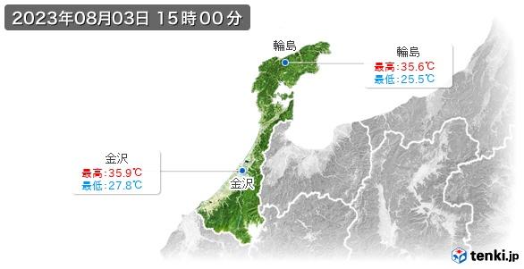 石川県の最高・最低気温(全国)