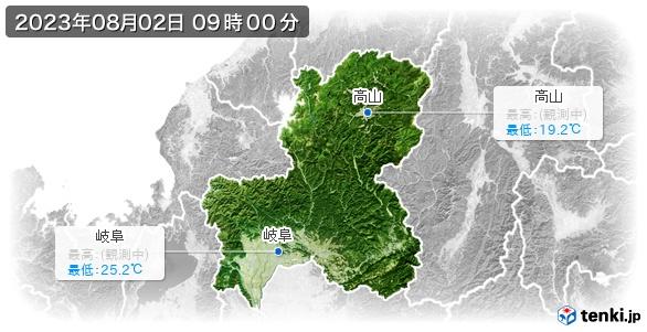 岐阜県の最高・最低気温(全国)