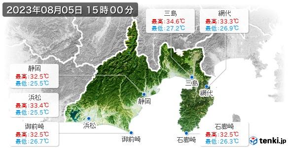 静岡県の最高・最低気温(全国)