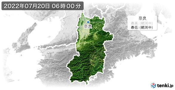 奈良県の最高・最低気温(全国)