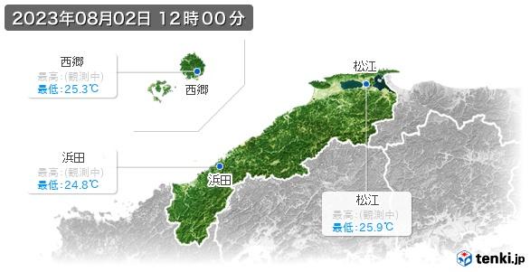 島根県の最高・最低気温(全国)
