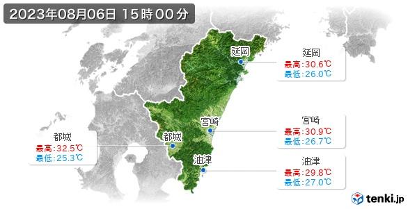 宮崎県の最高・最低気温(全国)