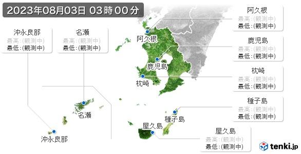 鹿児島県の最高・最低気温(全国)