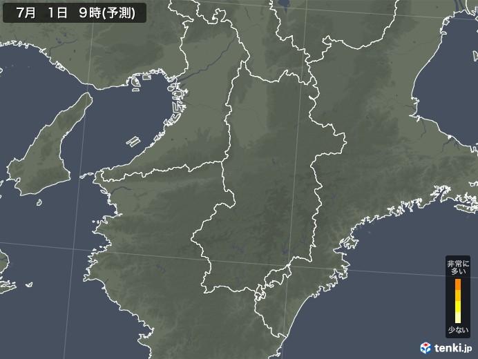 奈良県のヒノキ花粉 飛散予測マップ 2021