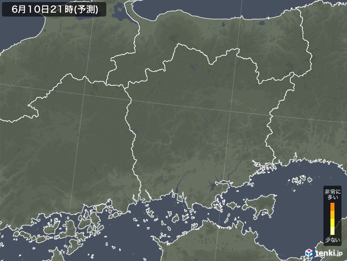 岡山県のヒノキ花粉 飛散予測マップ 2021