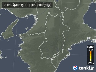 奈良県の花粉飛散分布予測