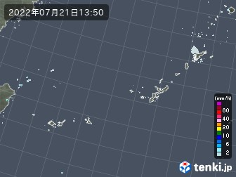 沖縄地方の雨雲の動き