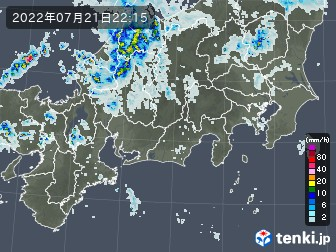 東海地方の雨雲の動き
