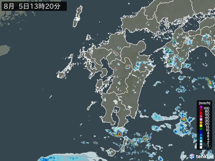 九州地方の雨雲の動き