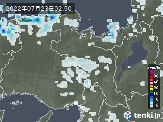 京都府の雨雲レーダー