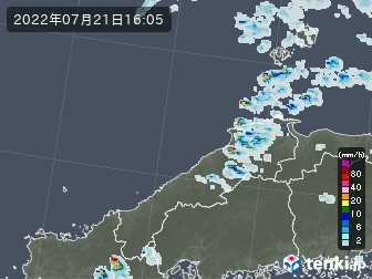島根県の雨雲の動き