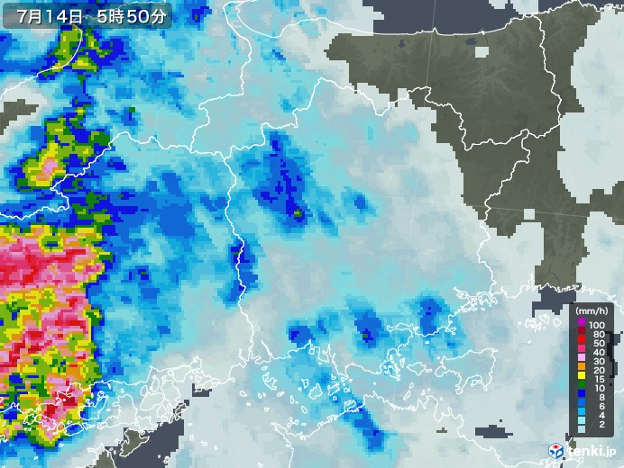 岡山県の雨雲の動き