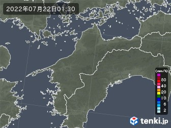 愛媛県の雨雲の動き