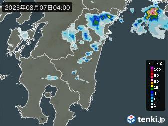 宮崎県の雨雲の動き