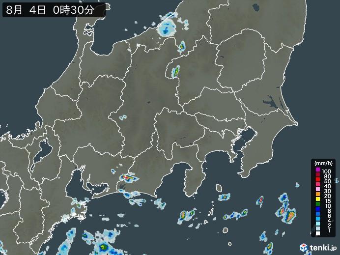 関東・甲信地方の雨雲の動き(予報)