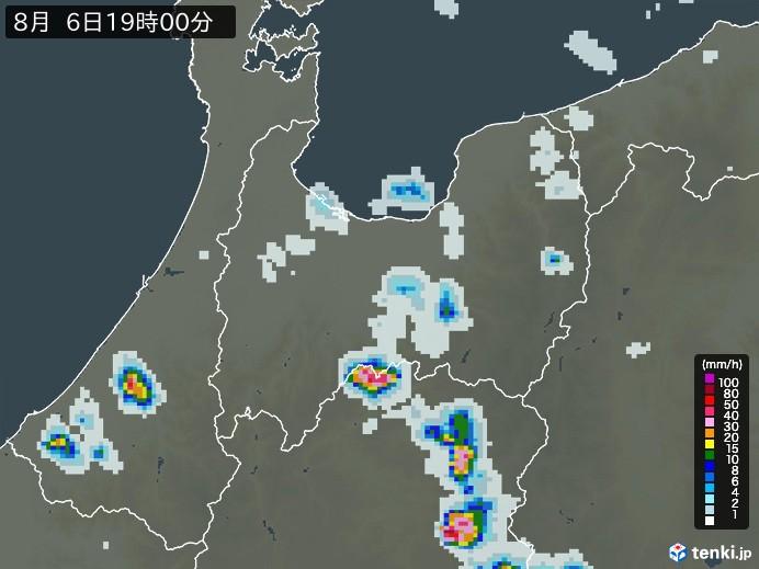 富山県の雨雲レーダー(予報)