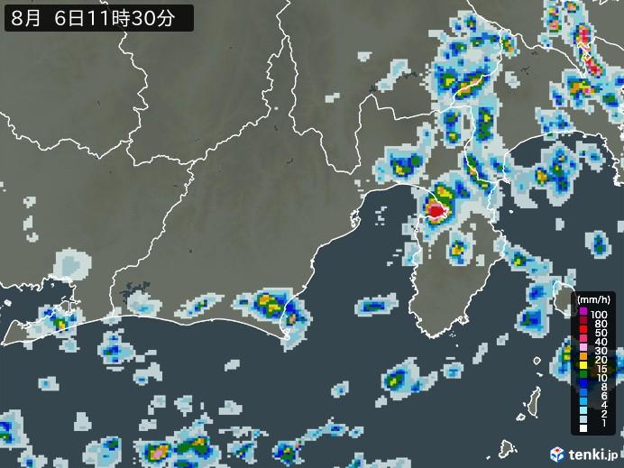 静岡県の雨雲の動き(予報)
