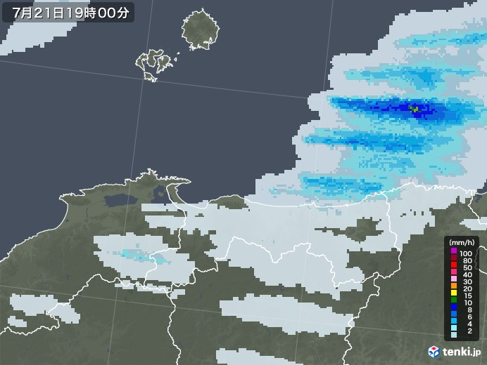 鳥取県の雨雲の動き(予報)