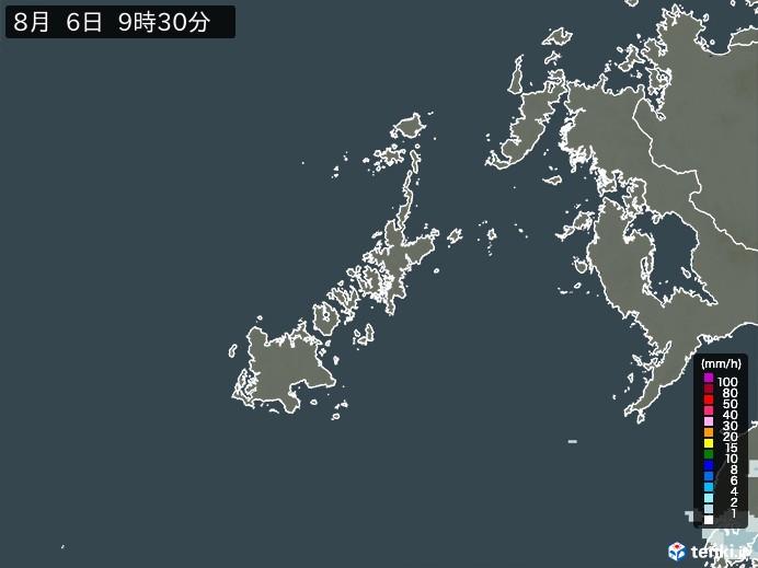 五島列島(長崎県)の雨雲の動き(予報)