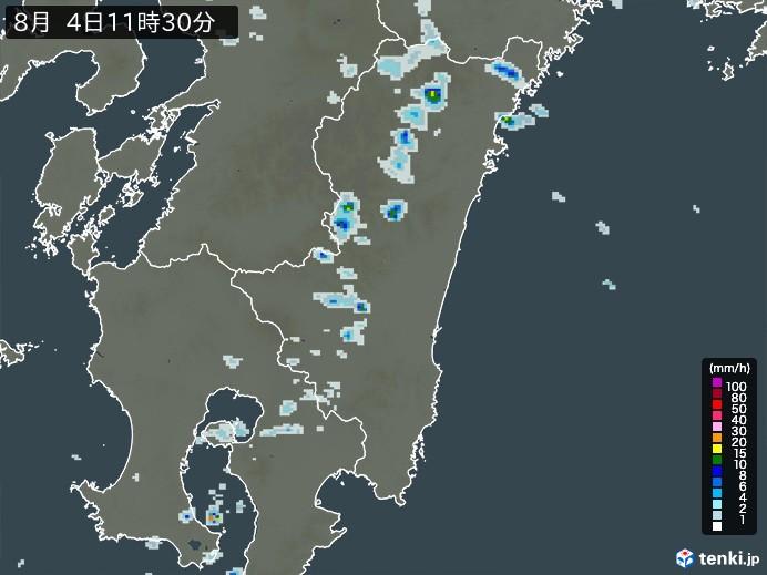 宮崎県の雨雲レーダー(予報)