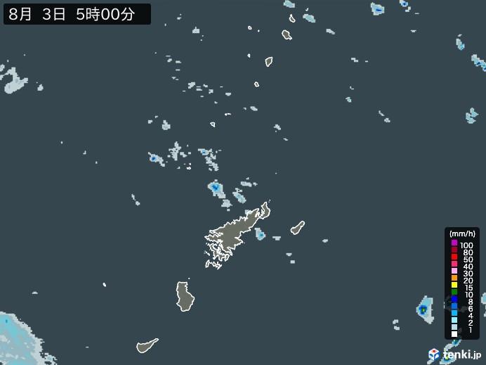 奄美諸島(鹿児島県)の雨雲の動き(予報)