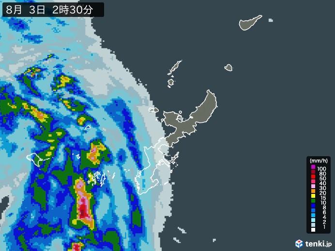 沖縄県の雨雲の動き(予報)