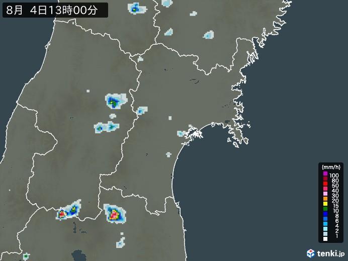 宮城県の雨雲の動き(予報)