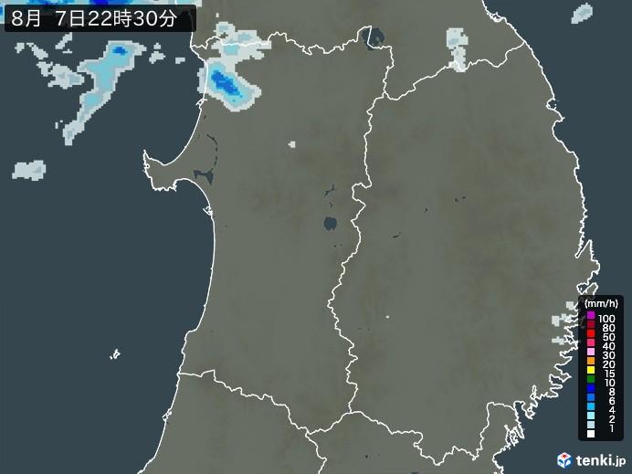 秋田県の雨雲レーダー(予報)