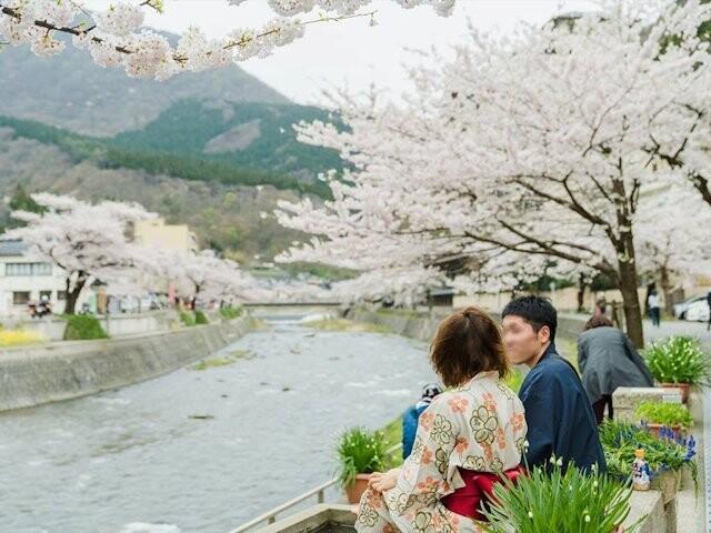 あつみ温泉 温海川河畔の写真