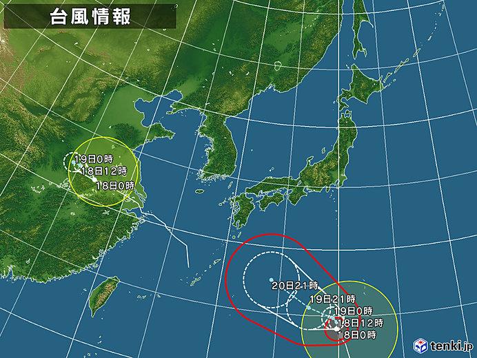台風情報・日本広域(2018年08月18日00時現在)