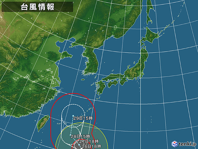 台風情報・日本広域(2018年09月26日18時現在)