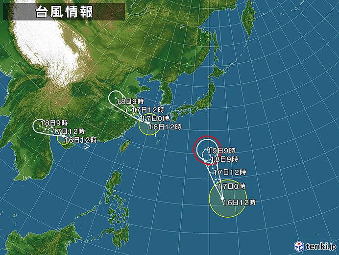 台風情報・日本広域(2018年08月16日12時現在)