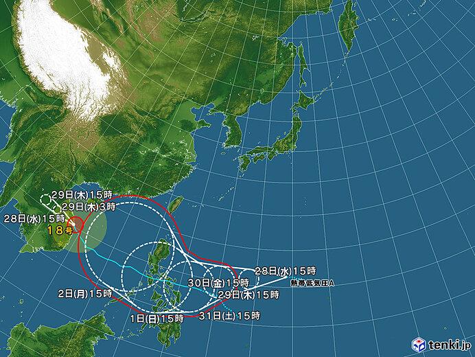 台風情報・日本広域(2020年10月28日15時現在)