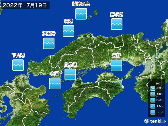 中国地方の海の天気
